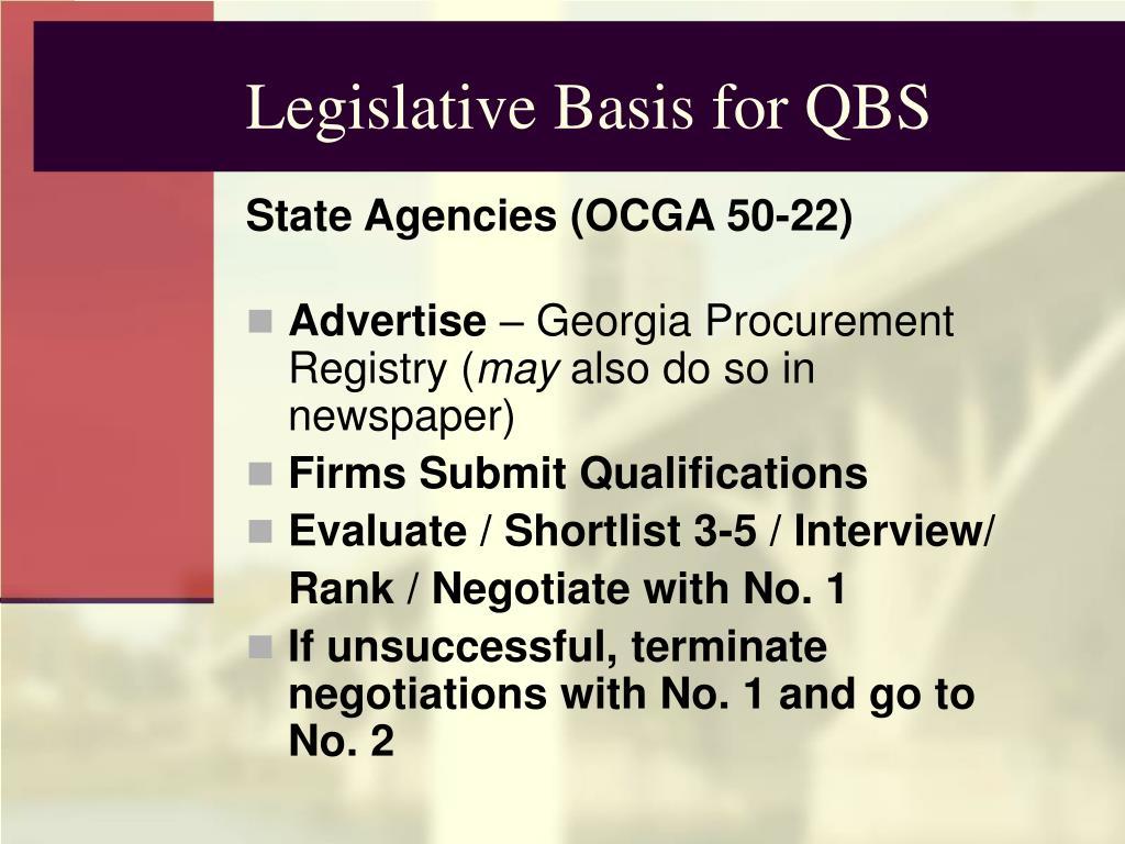 Legislative Basis for QBS
