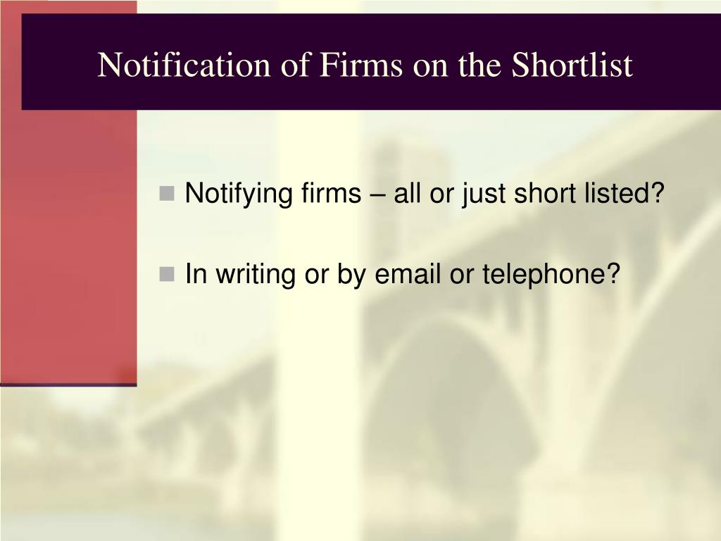 Notification of Firms on the Shortlist