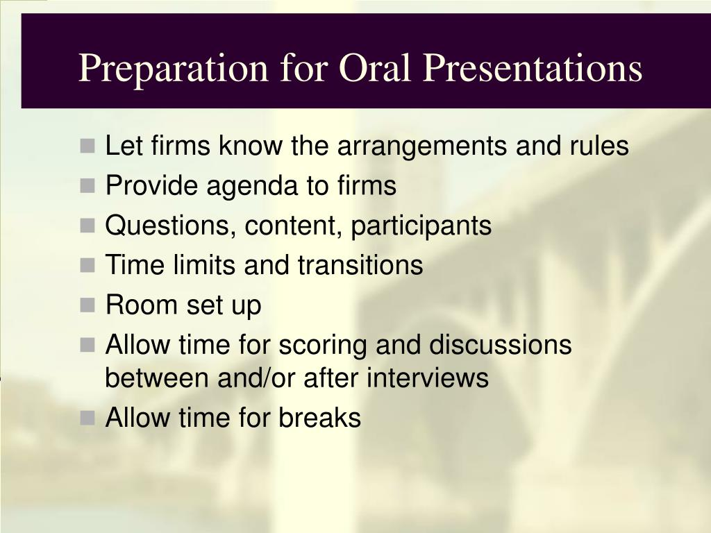 Preparation for Oral Presentations