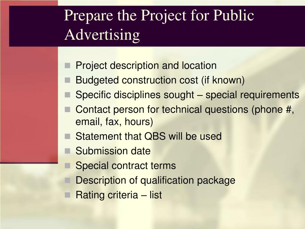 Prepare the Project for Public Advertising