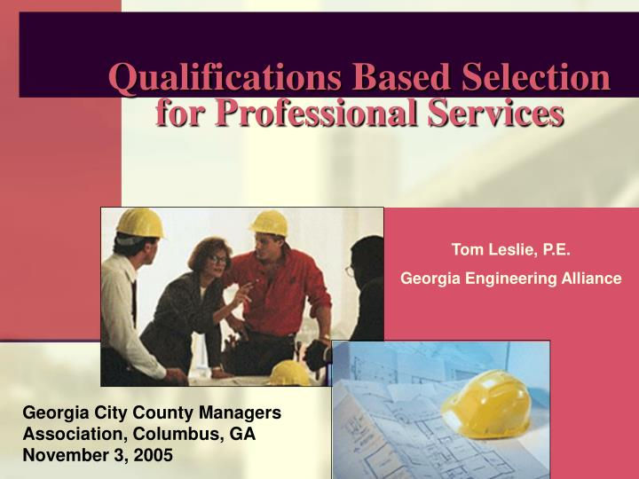 Qualifications based selection for professional services l.jpg