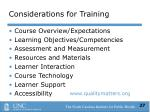 considerations for training