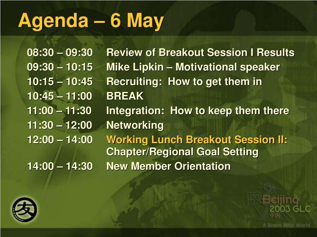 Agenda – 6 May