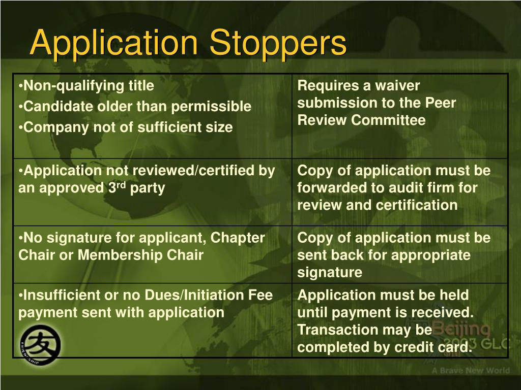 Application Stoppers