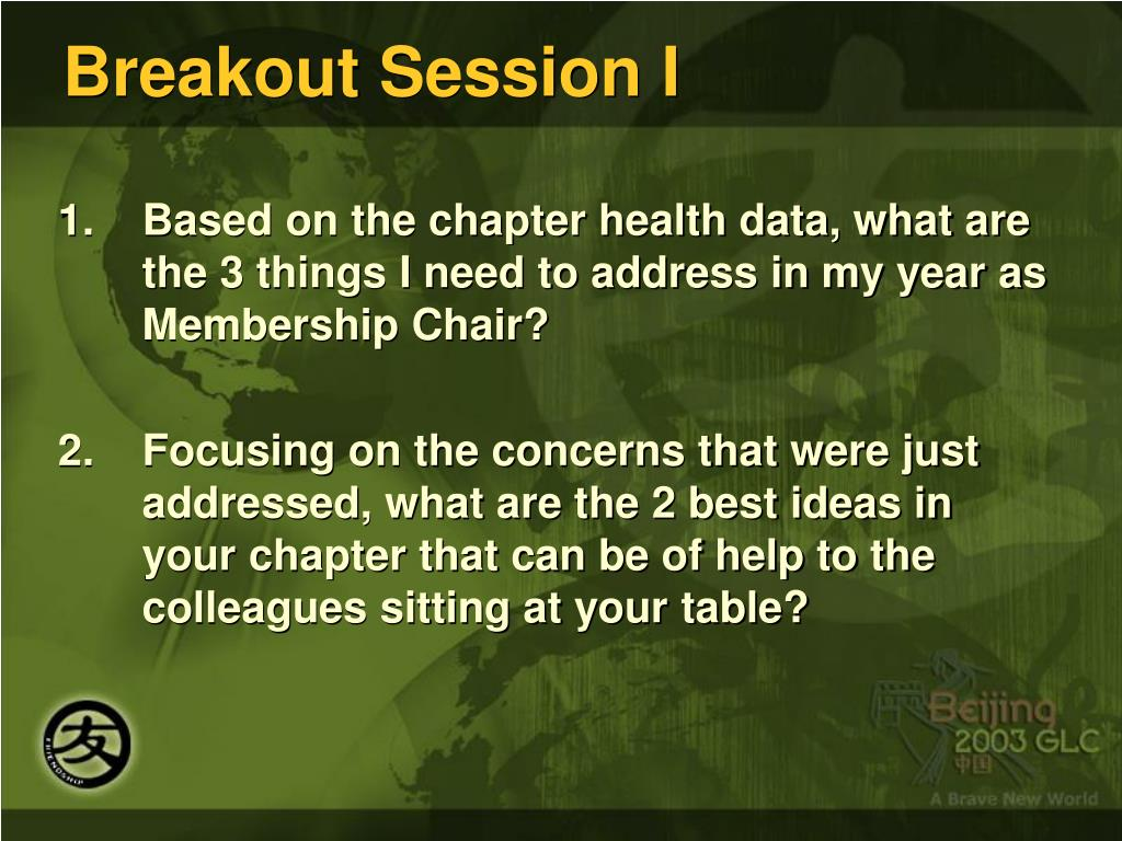 Breakout Session I