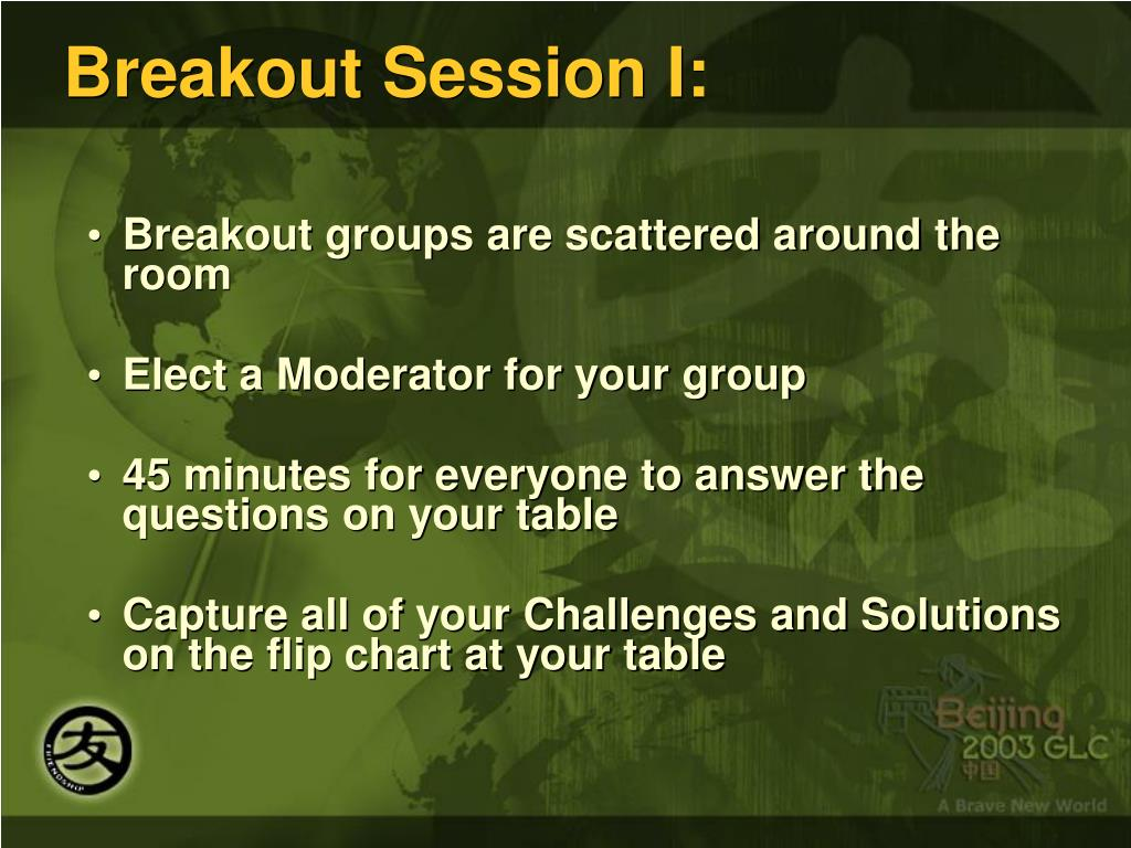 Breakout Session I: