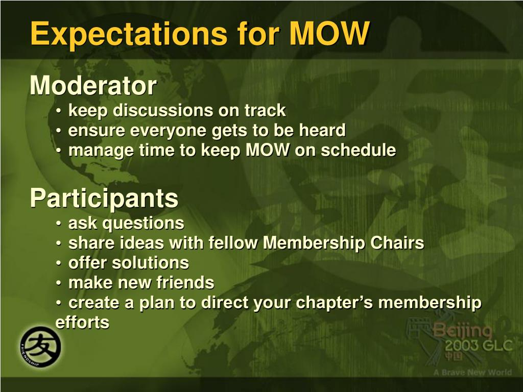 Expectations for MOW
