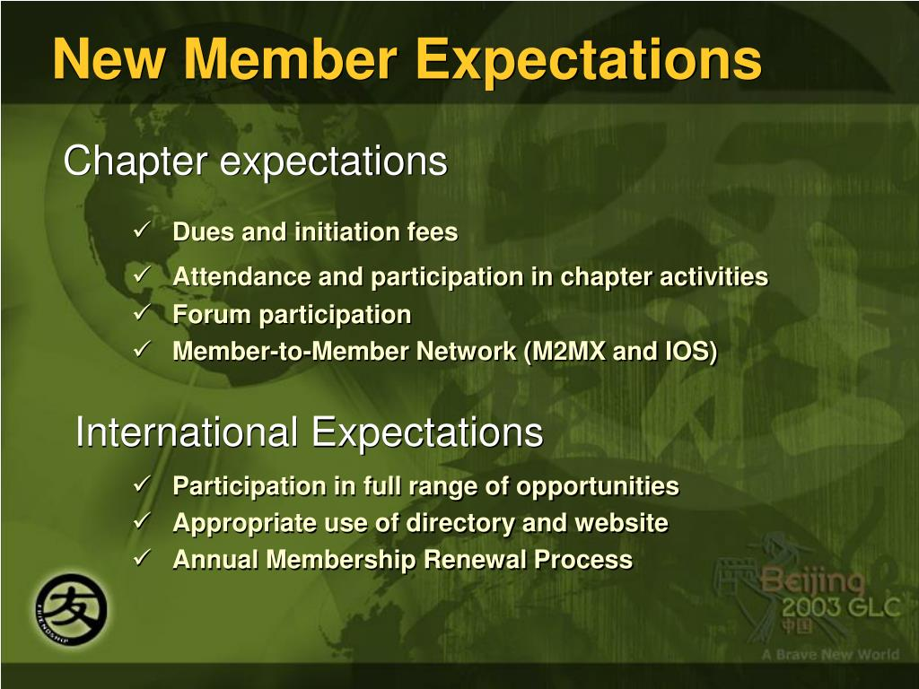 New Member Expectations