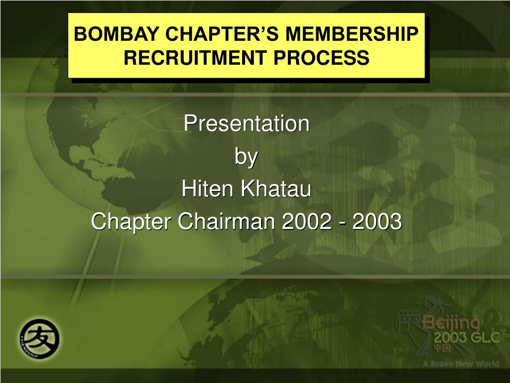 BOMBAY CHAPTER'S MEMBERSHIP