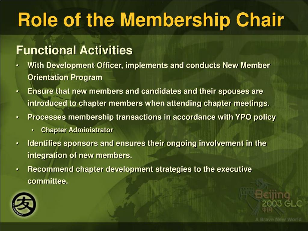 Role of the Membership Chair