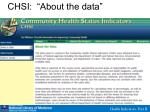 chsi about the data