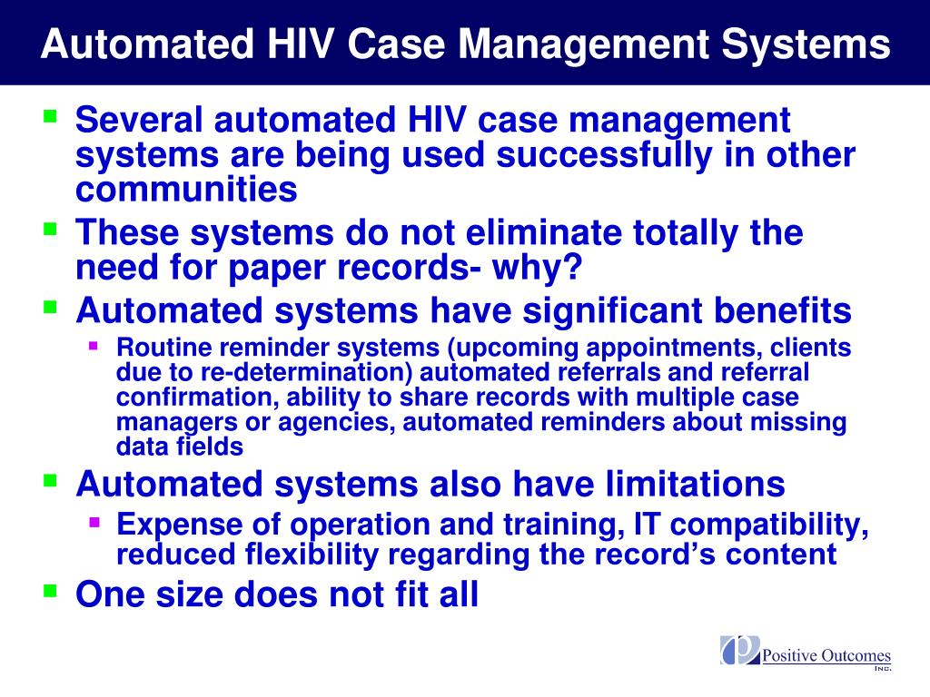Automated HIV Case Management Systems