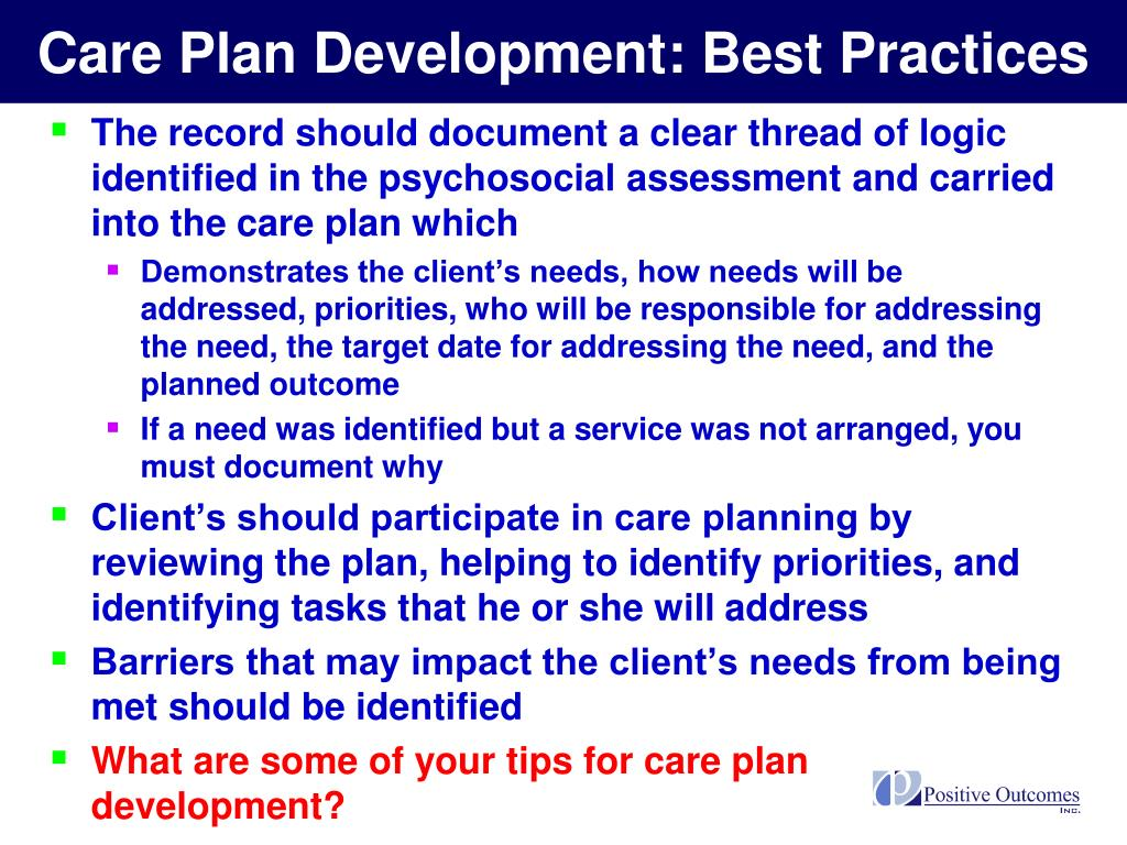 Care Plan Development: Best Practices