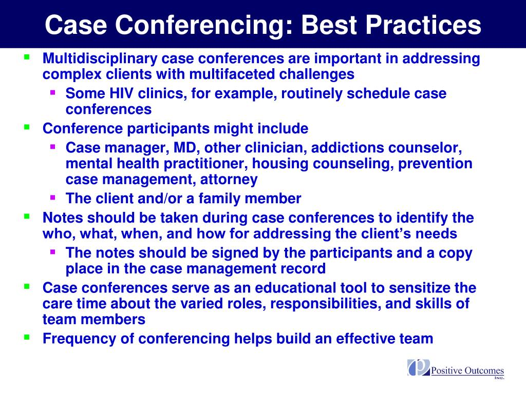 Case Conferencing: Best Practices