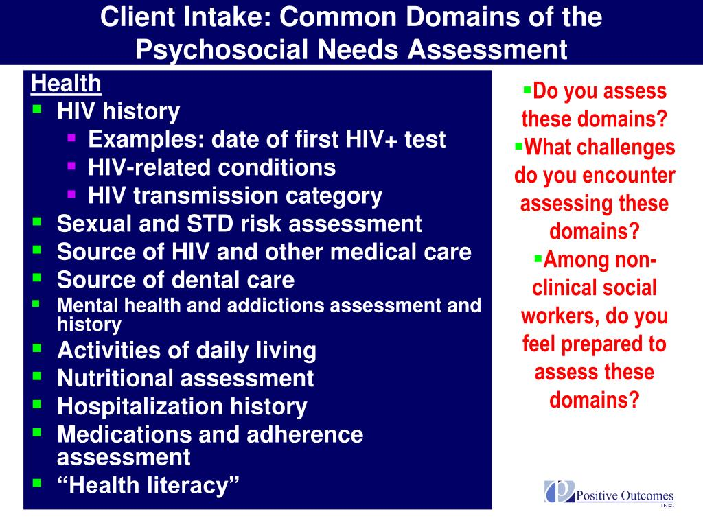 Client Intake: Common Domains of the