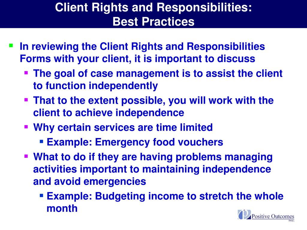 Client Rights and Responsibilities: