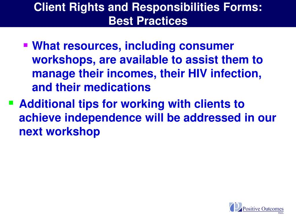 Client Rights and Responsibilities Forms: