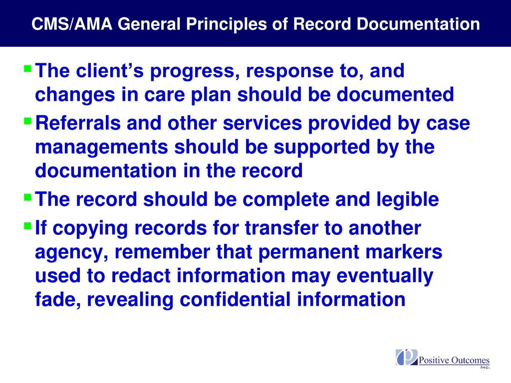 CMS/AMA General Principles of Record Documentation