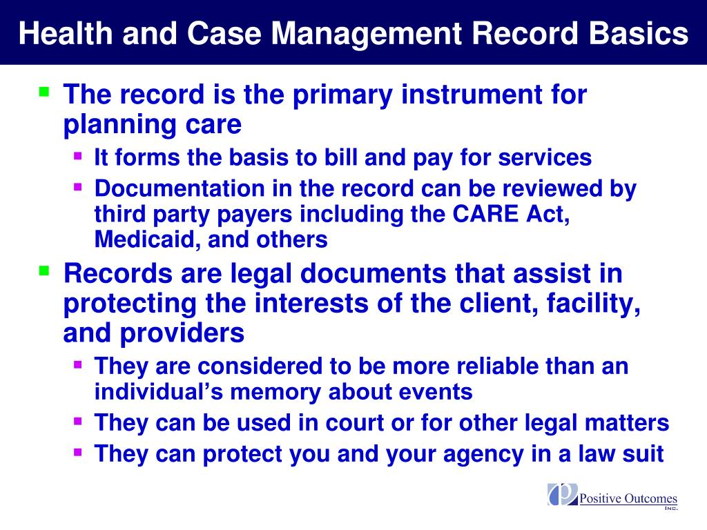 Health and Case Management Record Basics