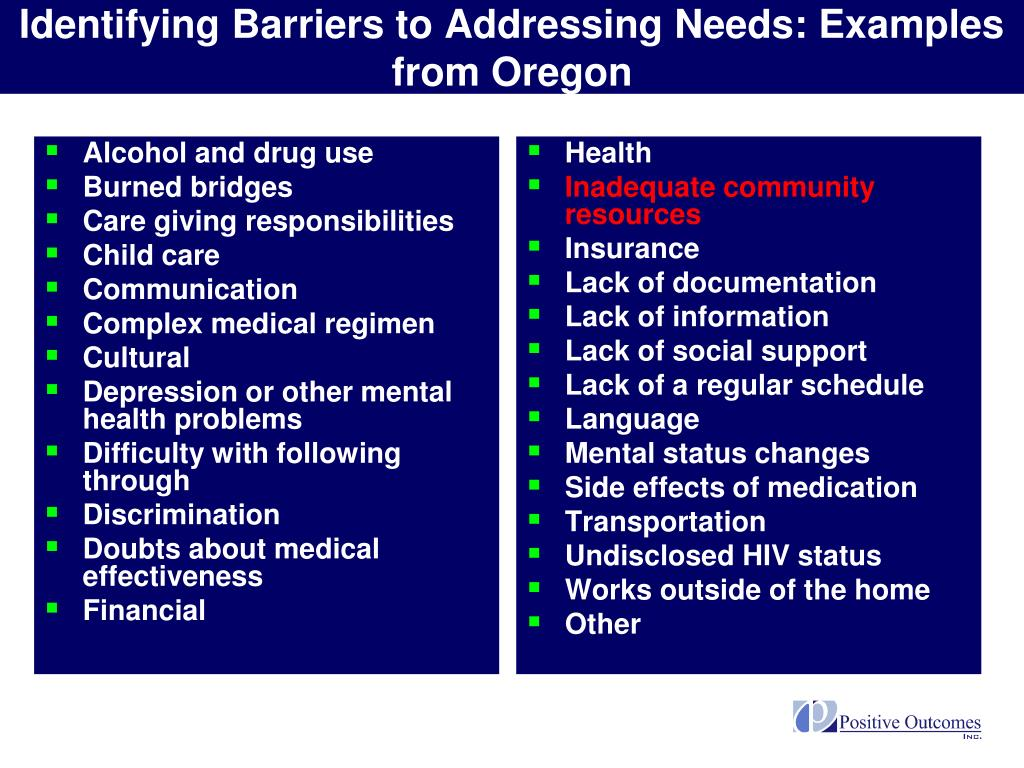 Identifying Barriers to Addressing Needs: Examples from Oregon