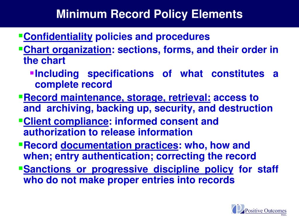 Minimum Record Policy Elements