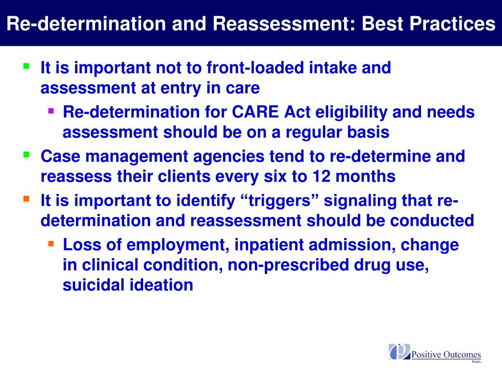 Re-determination and Reassessment: Best Practices