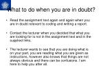 what to do when you are in doubt