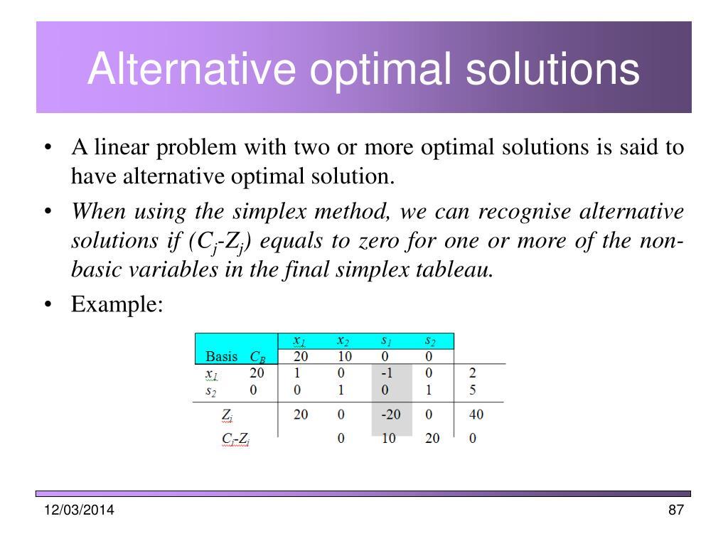 Alternative optimal solutions