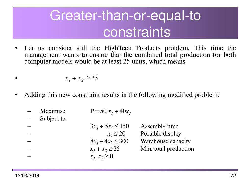 Greater-than-or-equal-to constraints