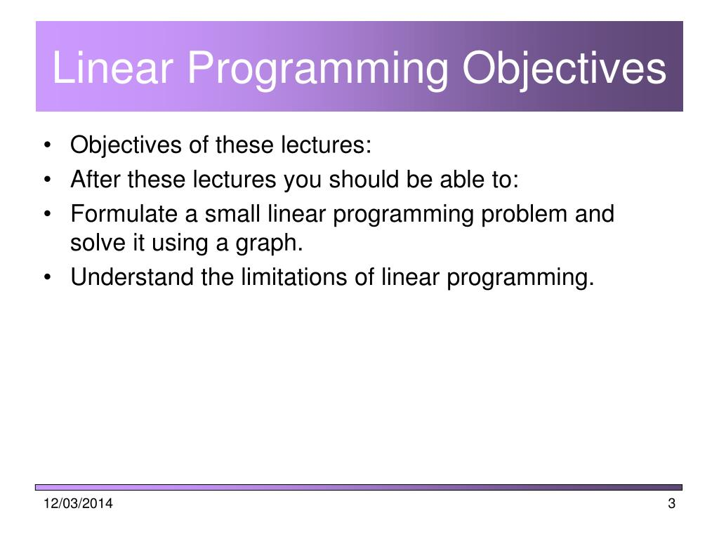 Linear Programming Objectives