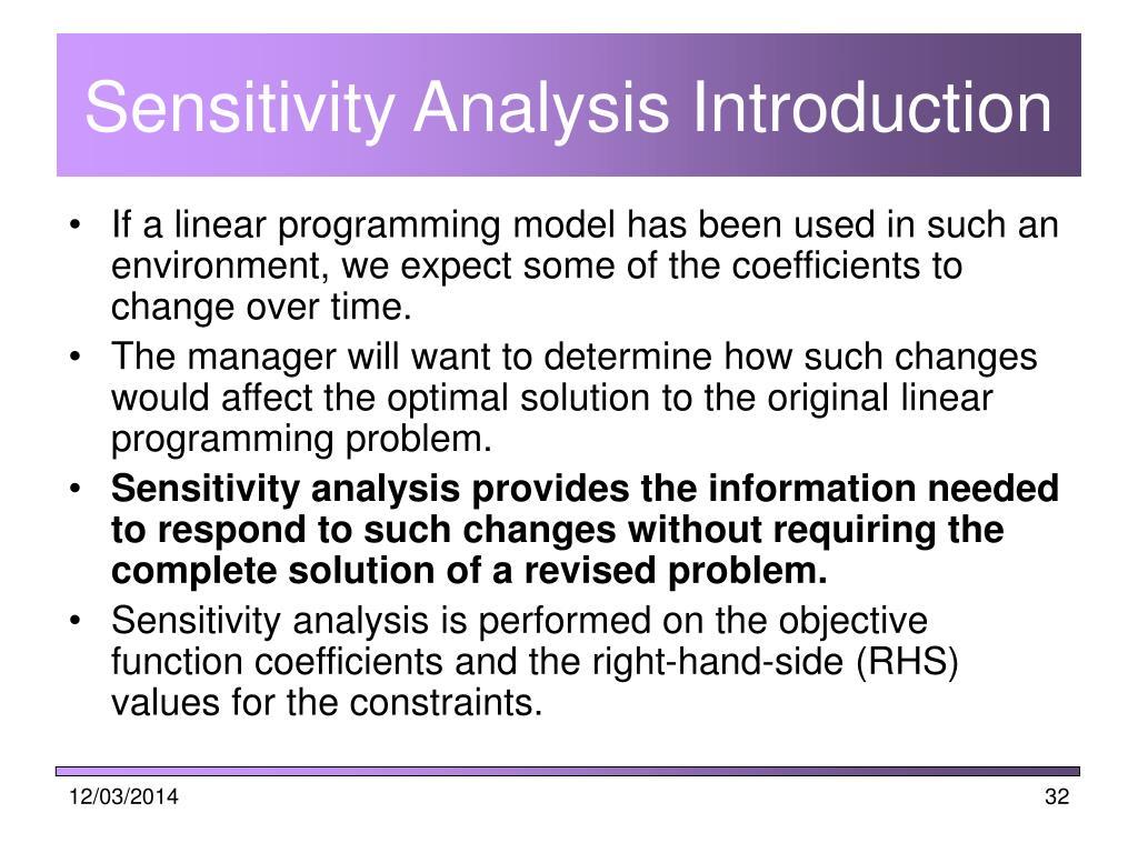 Sensitivity Analysis Introduction
