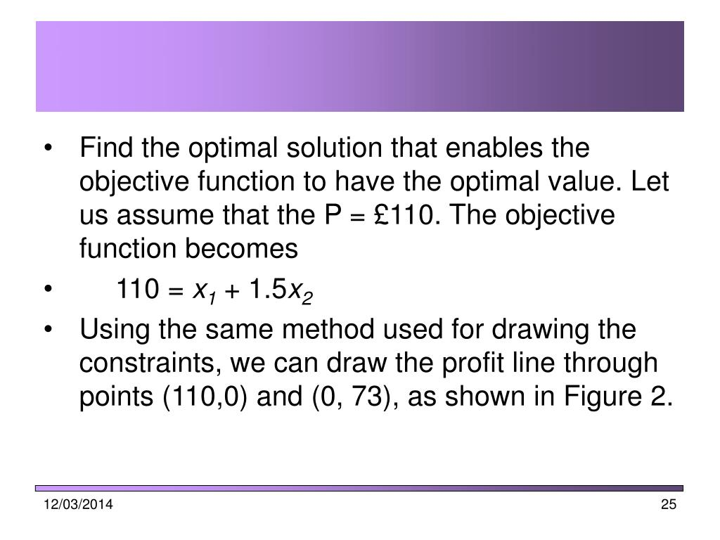 Find the optimal solution that enables the objective function to have the optimal value. Let us assume that the P = £110. The objective function becomes