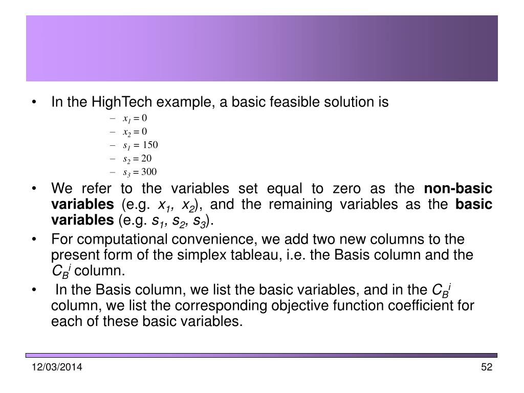 In the HighTech example, a basic feasible solution is