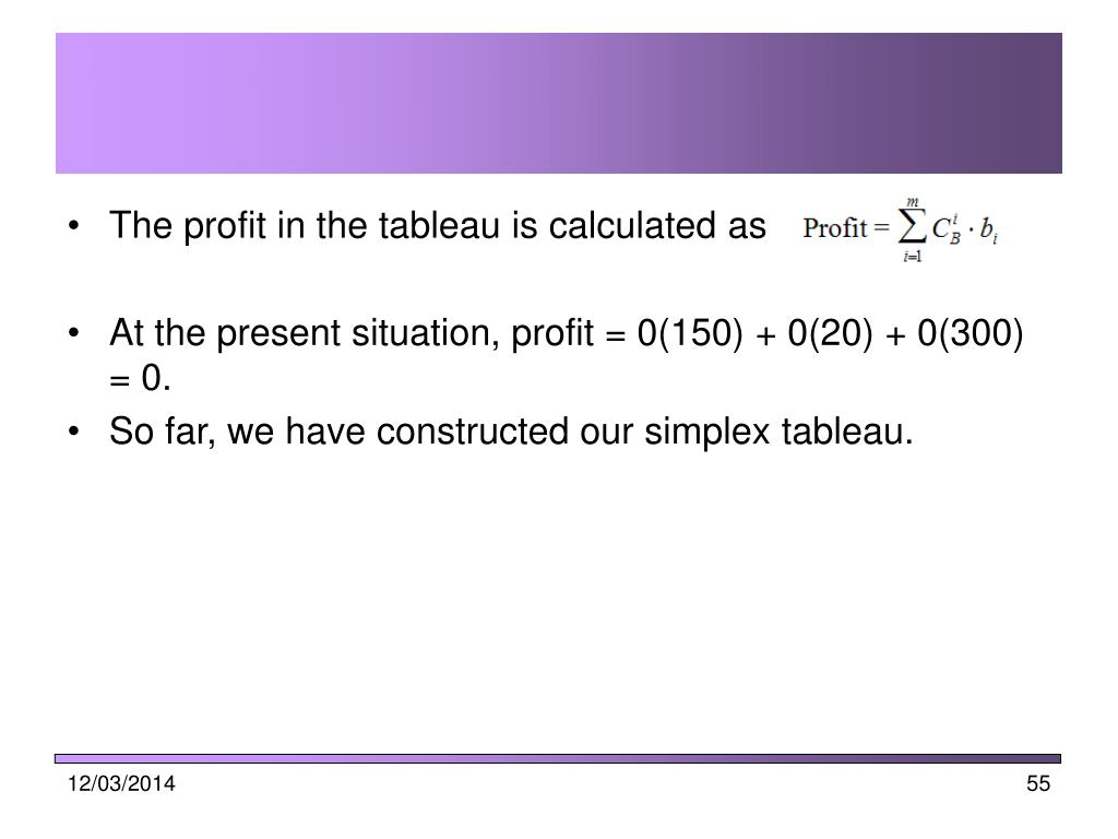 The profit in the tableau is calculated as