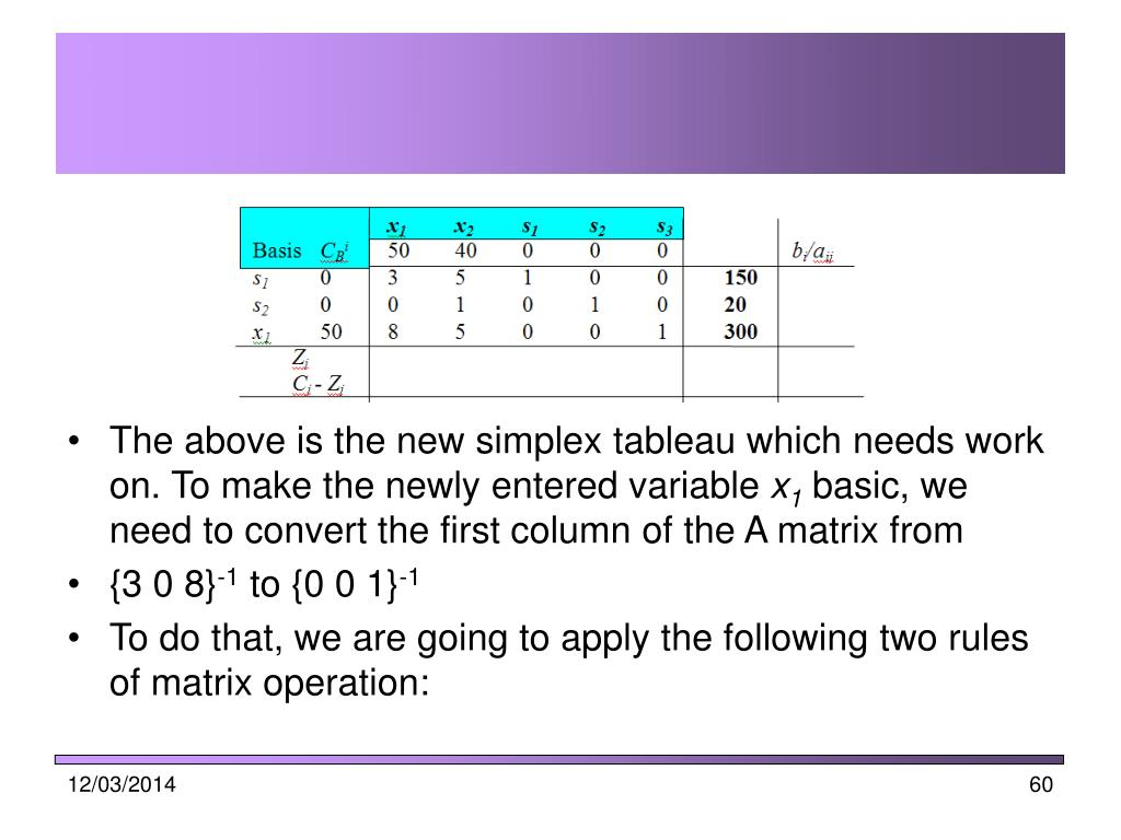 The above is the new simplex tableau which needs work on. To make the newly entered variable