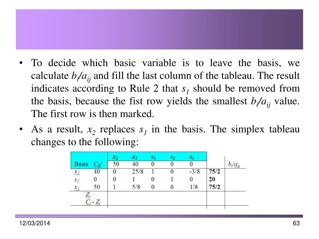 To decide which basic variable is to leave the basis, we calculate