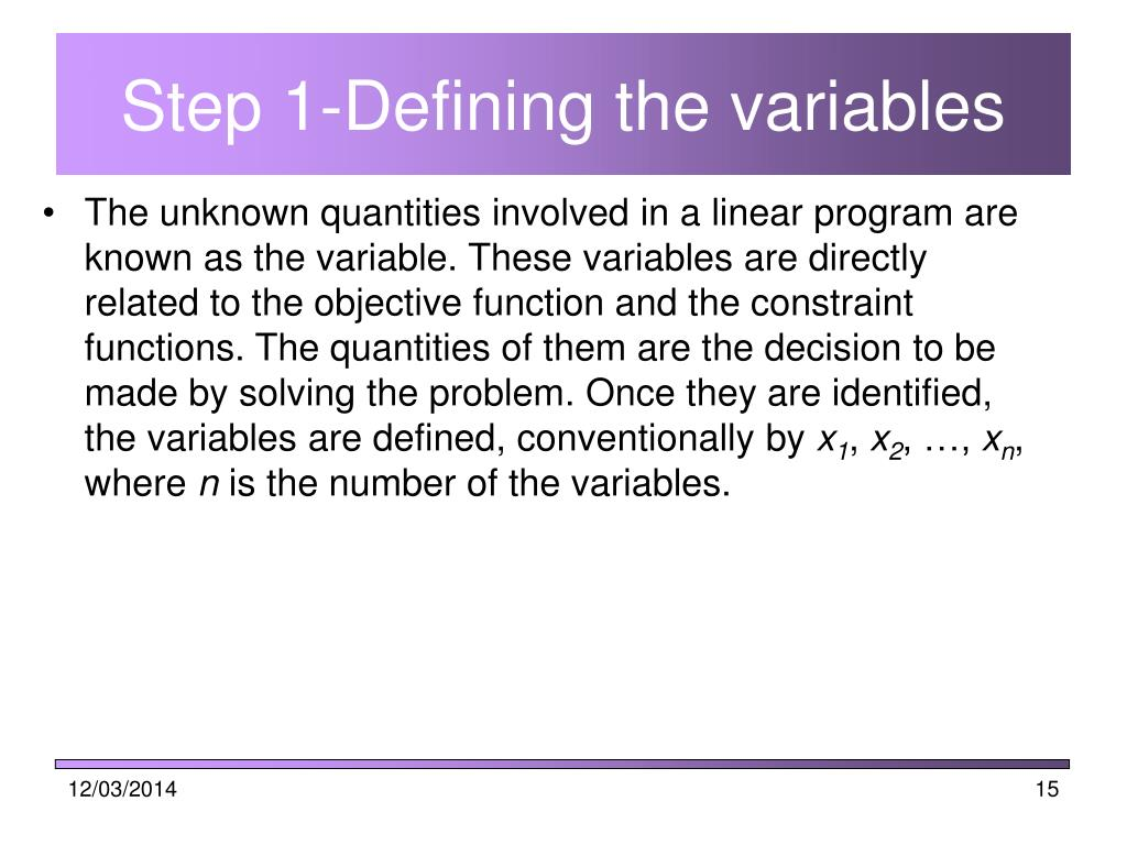 Step 1-Defining the variables