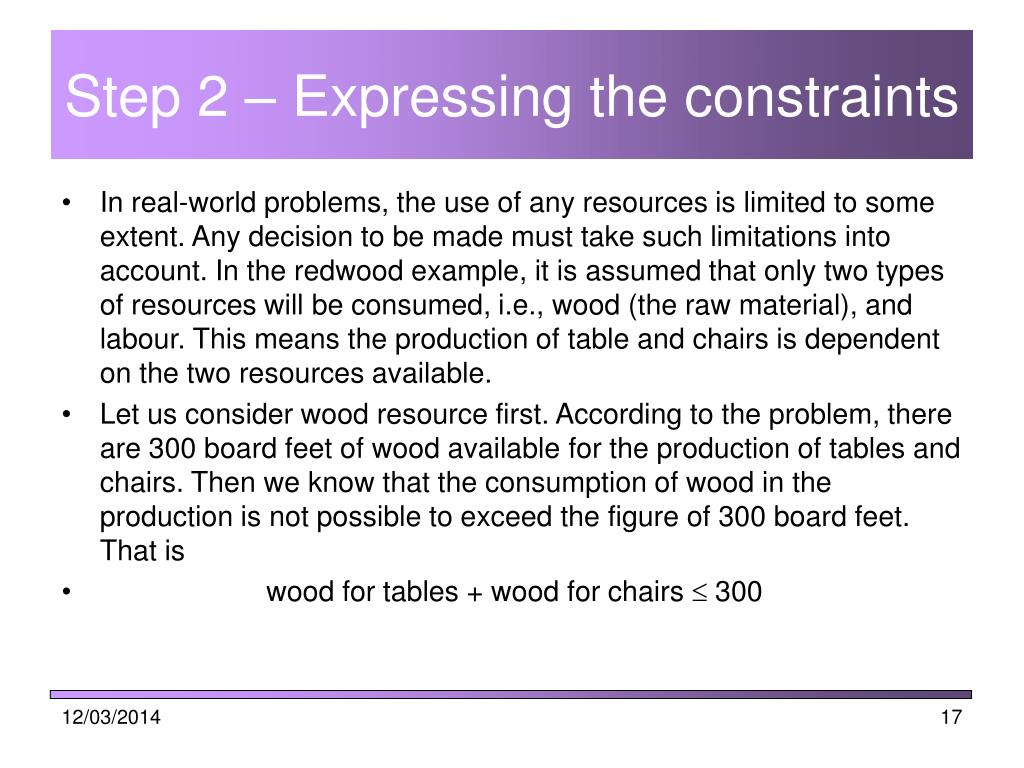 Step 2 – Expressing the constraints