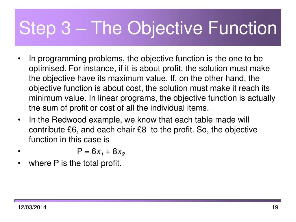 Step 3 – The Objective Function
