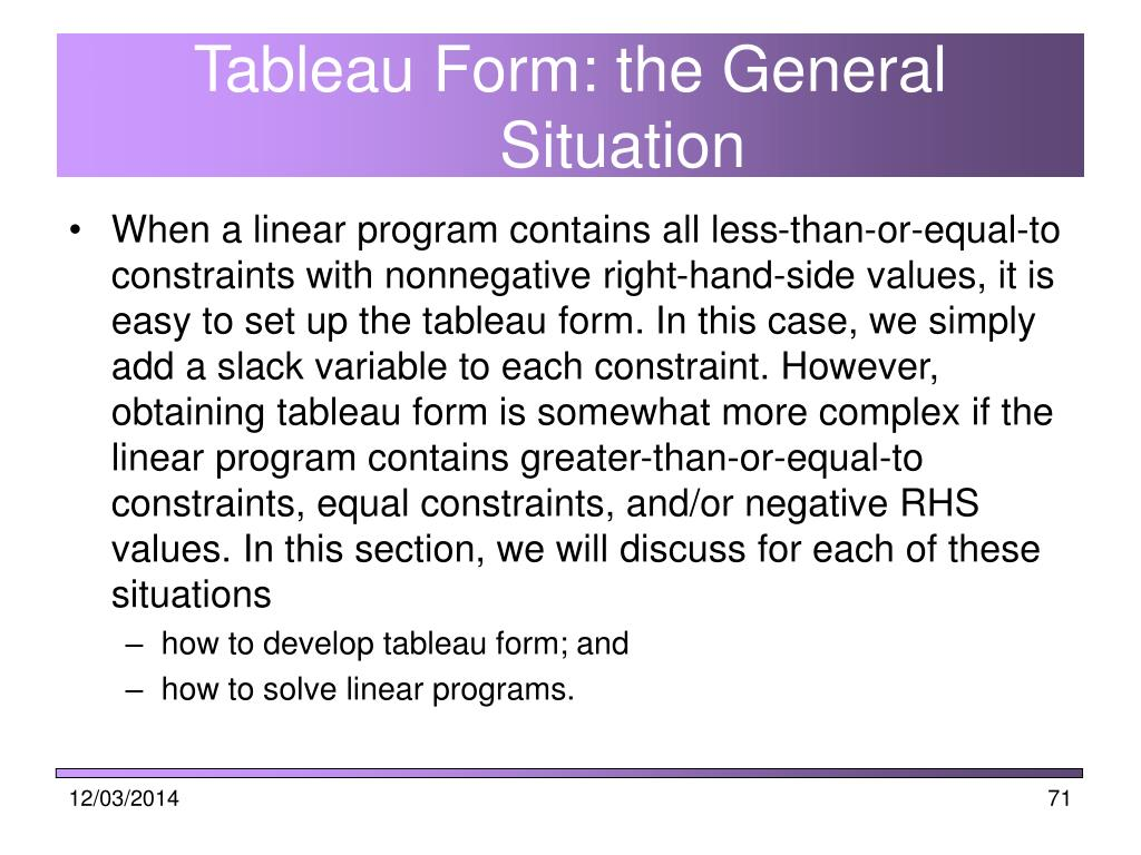Tableau Form: the General Situation