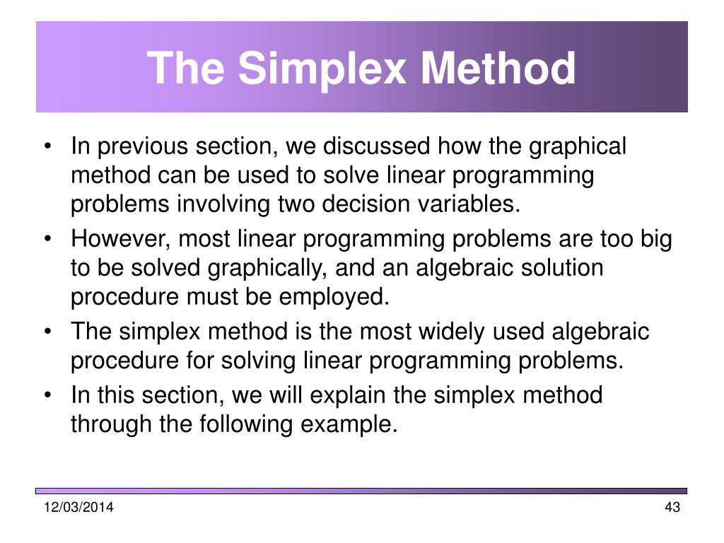The Simplex Method