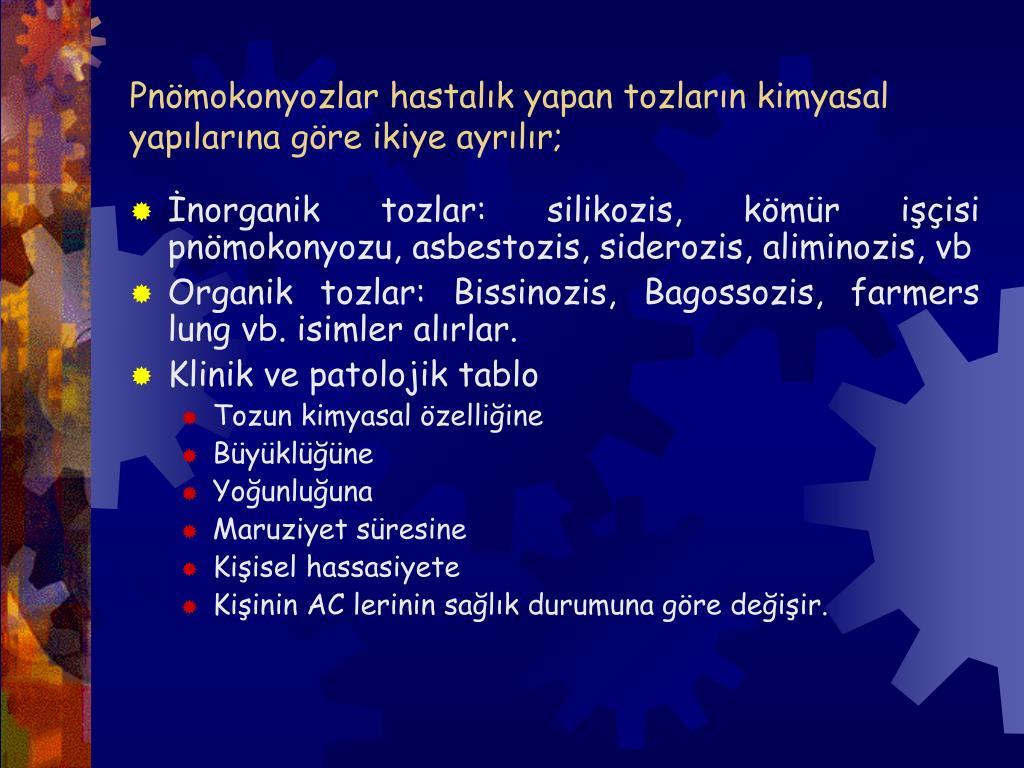 Pnömokonyozlar hastalık yapan tozların kimyasal yapılarına göre ikiye ayrılır;