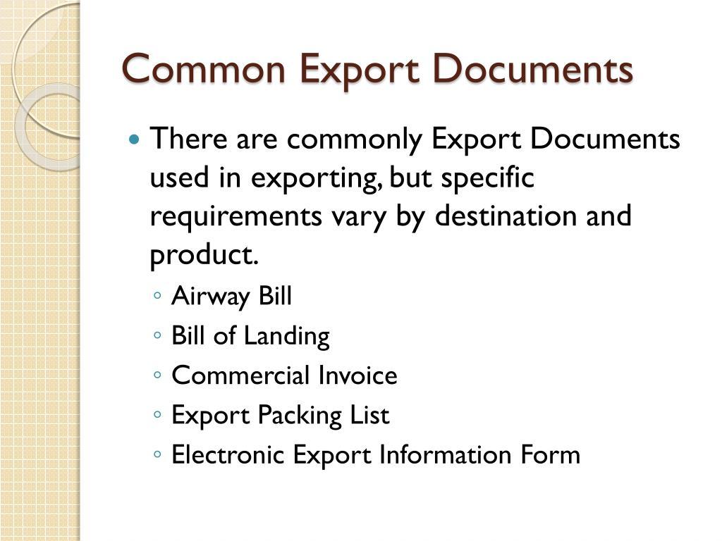 Common Export Documents