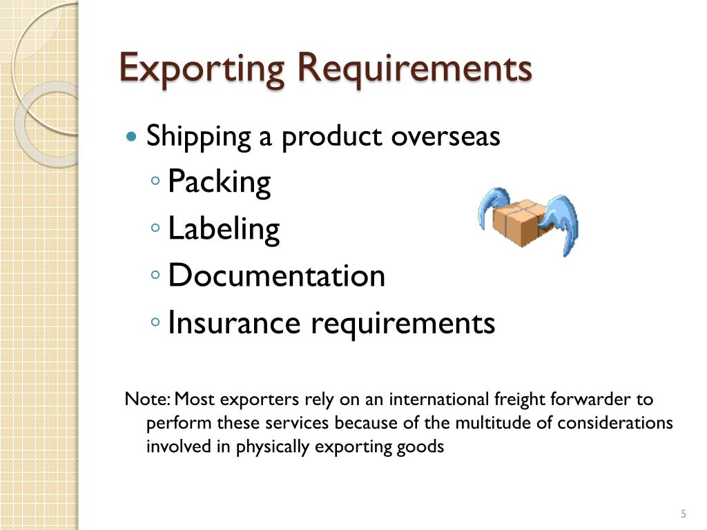 Exporting Requirements