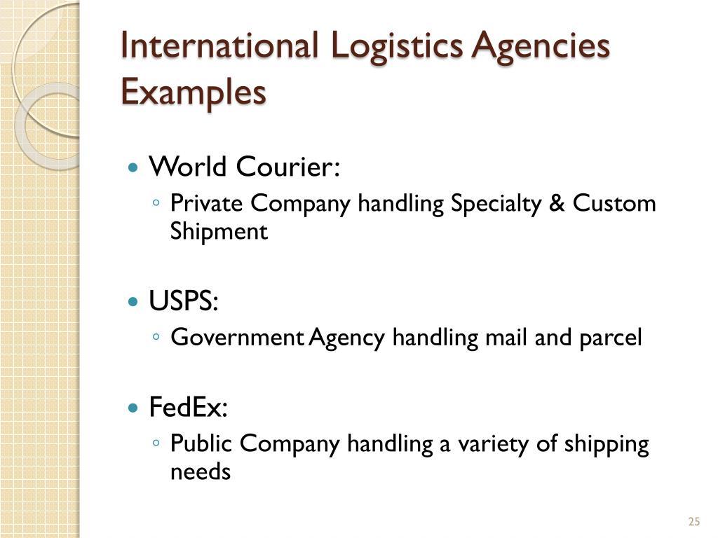 International Logistics Agencies Examples