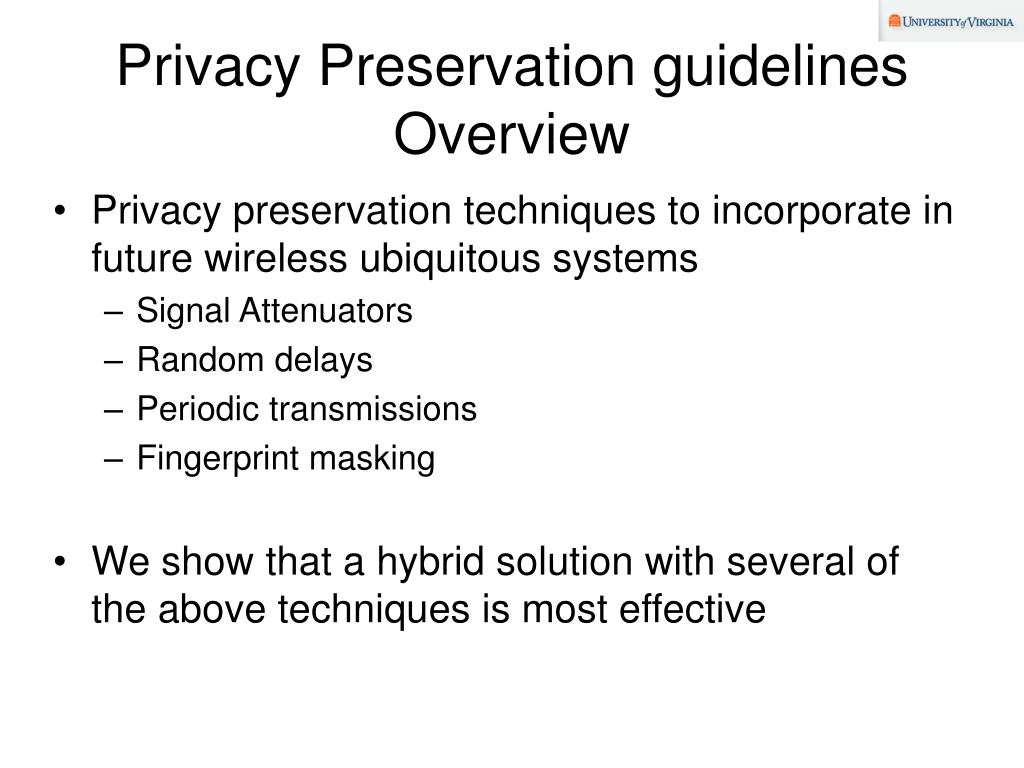 Privacy Preservation guidelines Overview