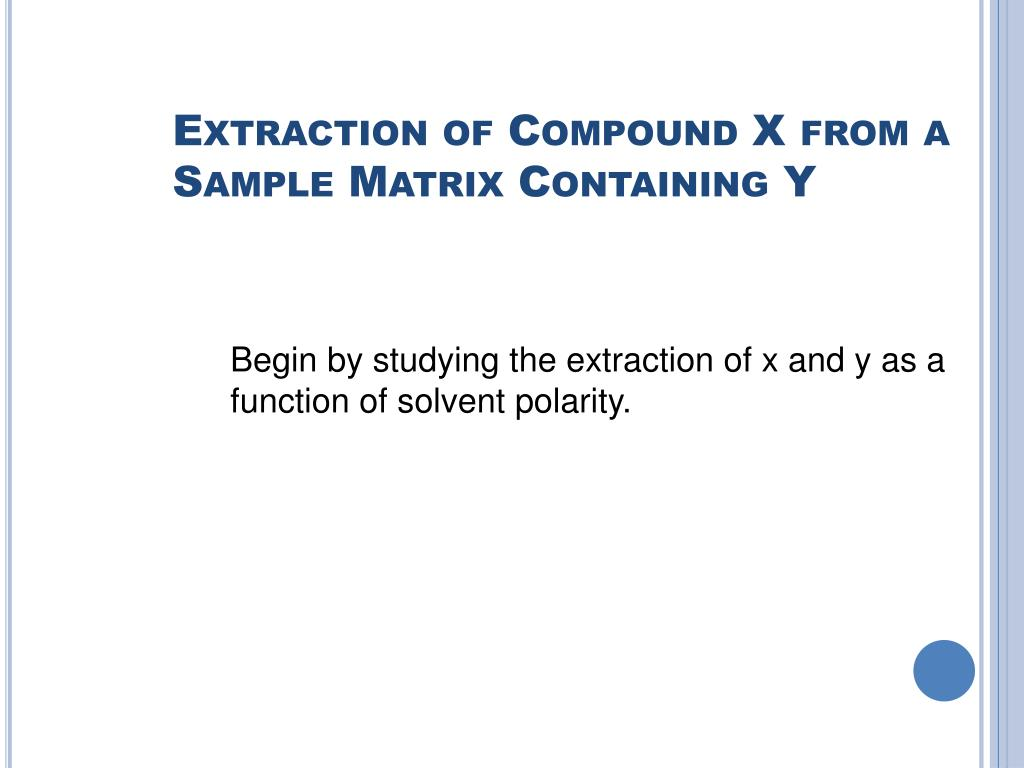 Extraction of Compound X from a Sample Matrix Containing Y