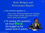 static budgets and performance reports9