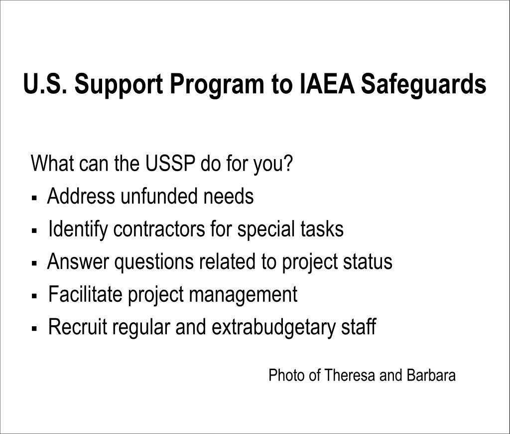 U.S. Support Program to IAEA Safeguards