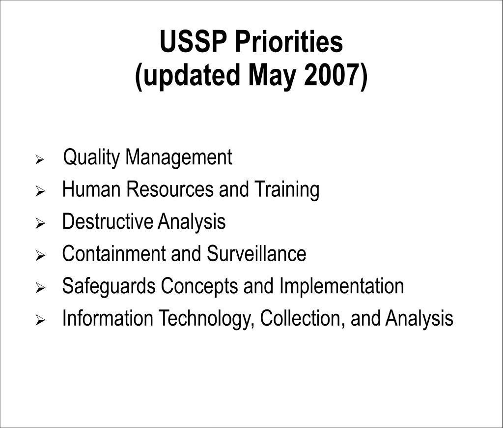 USSP Priorities